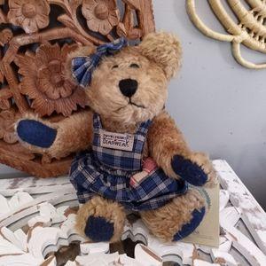 Vintage Boyd's Bear in a blue plaid dress